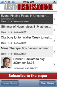 Headline view of ABJ app